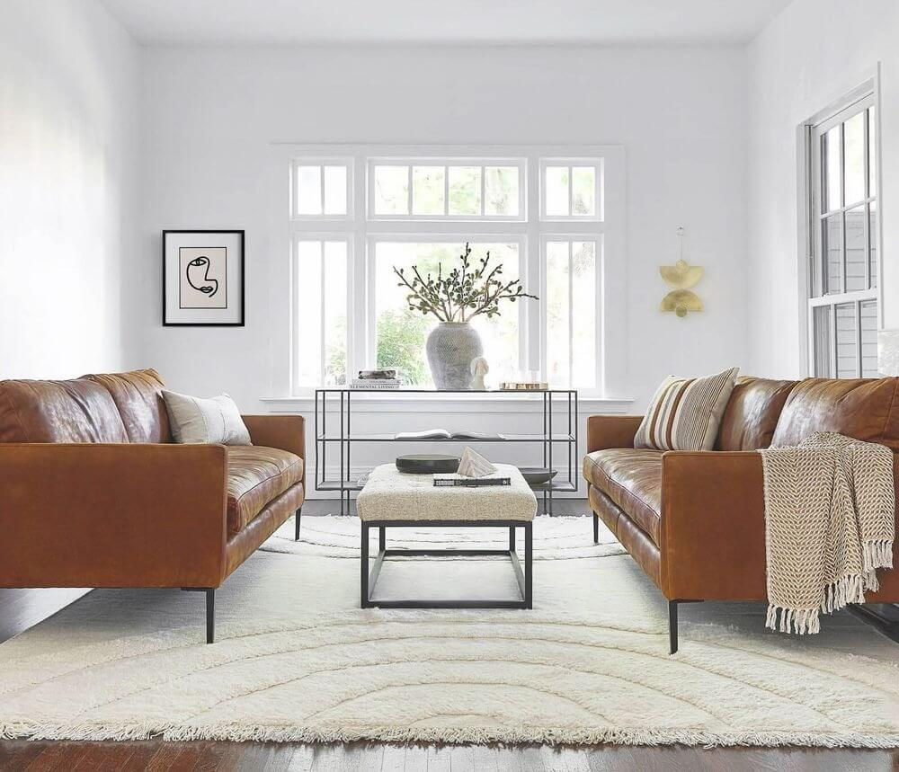 Allisen Leather Couch, Brown