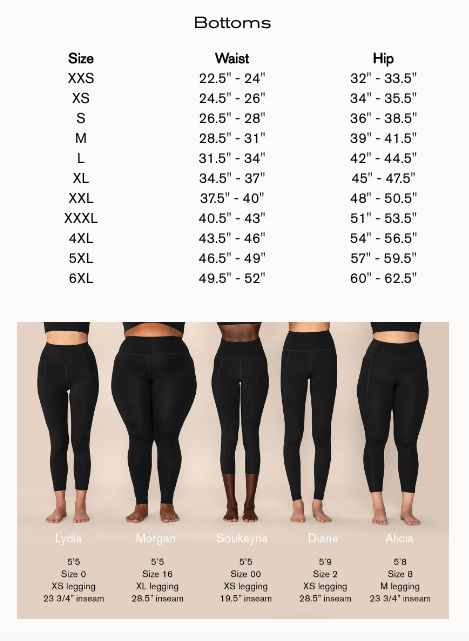 Girlfriend Collective Leggings sizing chart