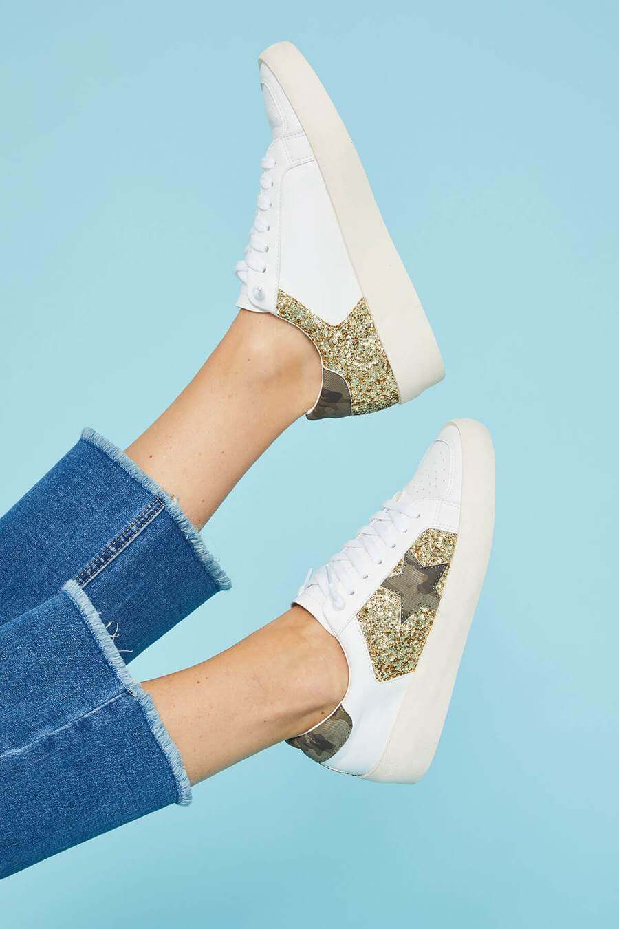 ST Olga Golden Girls Camo Star Wedge Lowtop Sneakers Review